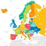 Mapa colorido del vector de Europa stock de ilustración