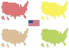 Mapa colorido dos EUA ilustração do vetor