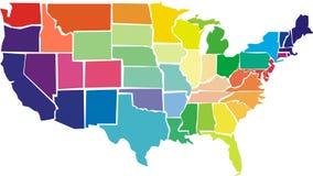 Mapa colorido dos EUA com estados Imagens de Stock Royalty Free