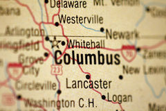 mapa columbus w Ohio Obrazy Stock