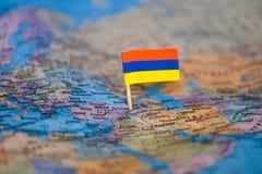 Mapa com a bandeira de Armênia imagem de stock