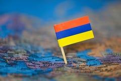 Mapa com a bandeira de Arm?nia foto de stock royalty free