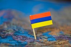 Mapa com a bandeira de Arm?nia imagem de stock royalty free
