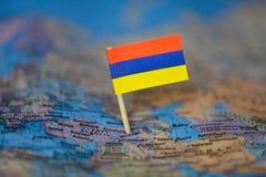 Mapa com a bandeira de Arm?nia imagem de stock
