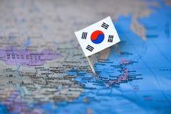Mapa com a bandeira de Coreia do Sul foto de stock royalty free