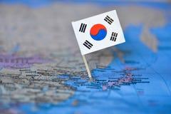 Mapa com a bandeira de Coreia do Sul foto de stock