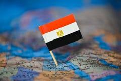 Mapa com a bandeira de Egito imagens de stock royalty free
