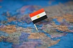 Mapa com a bandeira de Egito imagens de stock