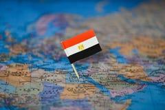 Mapa com a bandeira de Egito fotos de stock royalty free