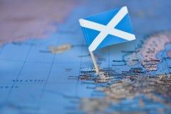 Mapa com a bandeira de Escócia foto de stock