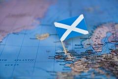 Mapa com a bandeira de Esc?cia foto de stock