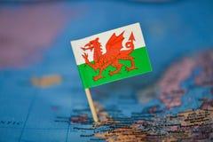 Mapa com a bandeira de Gales foto de stock royalty free