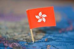 Mapa com a bandeira de Hong Kong fotos de stock royalty free