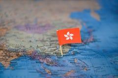 Mapa com a bandeira de Hong Kong fotografia de stock