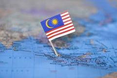 Mapa com a bandeira de Malásia fotos de stock royalty free