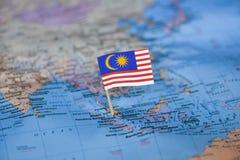 Mapa com a bandeira de Mal?sia imagem de stock royalty free