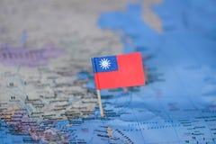 Mapa com a bandeira de Taiwan foto de stock royalty free