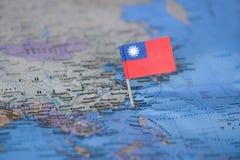 Mapa com a bandeira de Taiwan fotos de stock royalty free