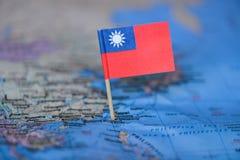 Mapa com a bandeira de Taiwan imagens de stock royalty free