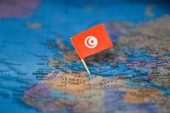 Mapa com a bandeira de Tunísia imagens de stock royalty free