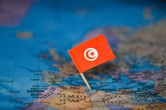 Mapa com a bandeira de Tun?sia imagem de stock