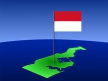 Mapa com bandeira Monacan Fotos de Stock Royalty Free