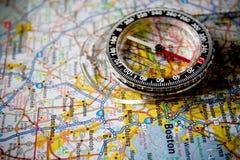 Mapa com compasso Fotografia de Stock