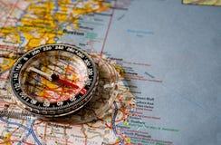 Mapa com compasso Imagem de Stock