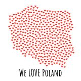 Mapa com corações vermelhos - símbolo do Polônia do amor abstraia o fundo ilustração royalty free
