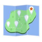 Mapa com ilha Fotografia de Stock Royalty Free