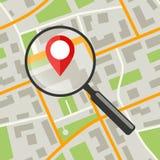 Mapa com lente de aumento ilustração royalty free