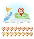 Mapa com marcadores e ícones do GPS Fotografia de Stock Royalty Free