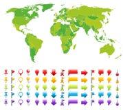 Mapa com marcas ilustração do vetor