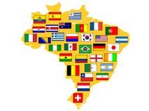 Mapa com nações qualificadas para o competiam 2014. Fotografia de Stock