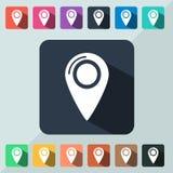 Mapa com o ícone da etiqueta liso Imagens de Stock Royalty Free
