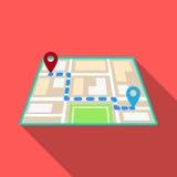 Mapa com o movimento do táxi da rota Navegador da estação do táxi para transportar passageiros Ícone da estação do táxi único no  ilustração royalty free