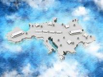 Mapa com o trem da Europa ilustração do vetor