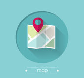 Mapa com Pin do lugar Imagem de Stock Royalty Free