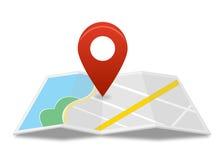 Mapa com pino vermelho Fotografia de Stock