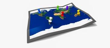 Mapa com pinos Fotografia de Stock Royalty Free