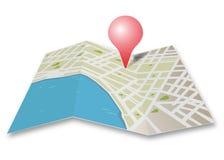 Mapa com ponteiro Fotografia de Stock Royalty Free