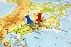 Mapa com ponto do pino Fotos de Stock