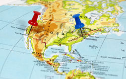 Mapa com ponto do pino Imagem de Stock Royalty Free