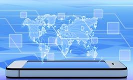 Mapa com telefones celulares Foto de Stock Royalty Free