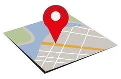 Mapa com um Pin vermelho do ponteiro Imagens de Stock Royalty Free