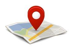 Mapa com um pino Fotos de Stock