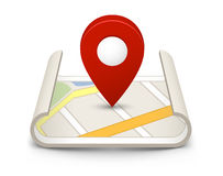 Mapa com um pino Fotos de Stock Royalty Free
