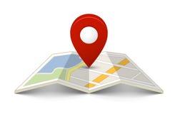 Mapa com um pino Foto de Stock Royalty Free