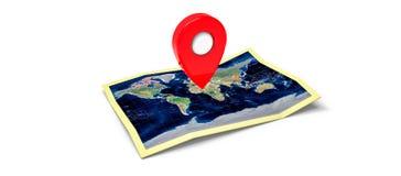 Mapa com um pino Imagens de Stock Royalty Free