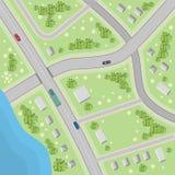 Mapa con direcciones de conducción Visión superior Fotos de archivo